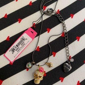 Betsy Johnson Crystal Skull Necklace